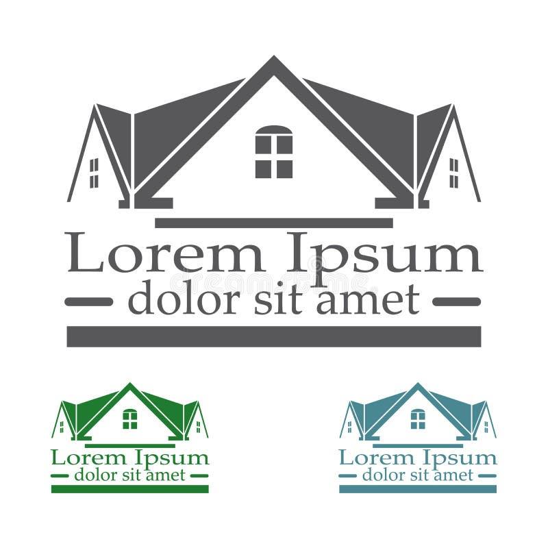 Real Estate vector o grupo de cor do molde do projeto do logotipo ícone abstrato do conceito do telhado Símbolo da arquitetura da ilustração stock