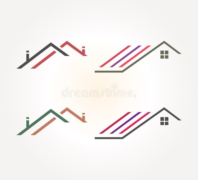 Real Estate vektorlinje Logo Design Abstrakt symbol f?r takhusbegrepp stock illustrationer