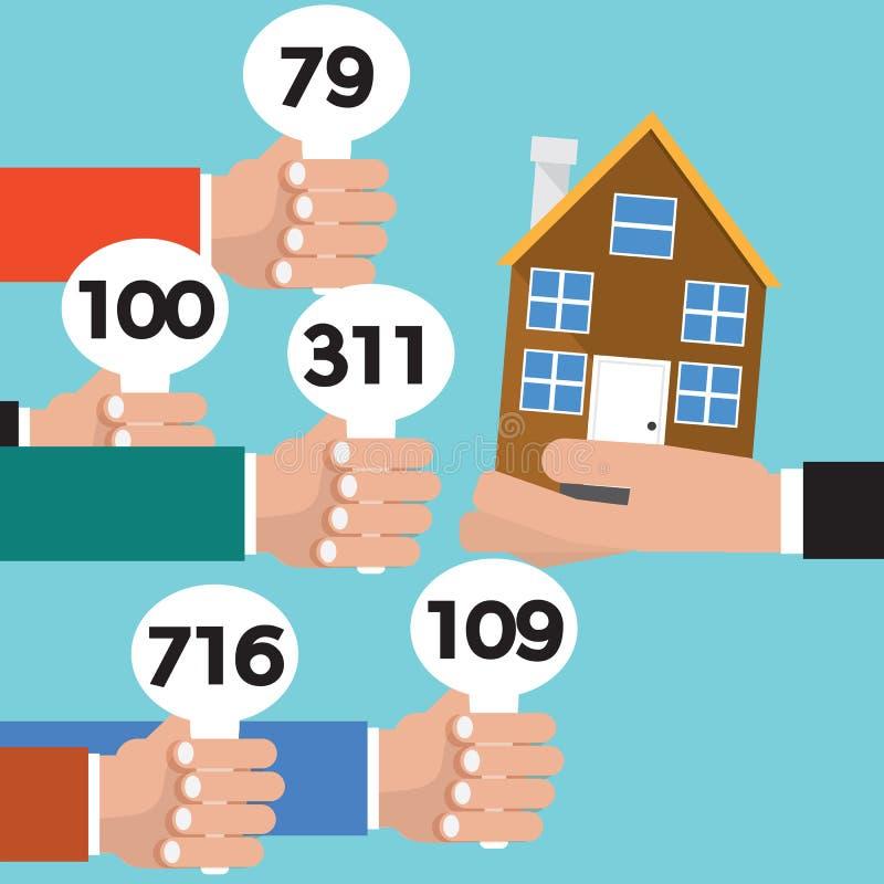 Real Estate vende em hasta o vetor conceptual ilustração royalty free