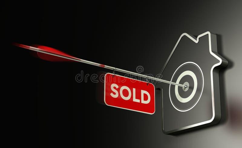 Real Estate vendeu o conceito, estratégia eficiente da venda ilustração do vetor