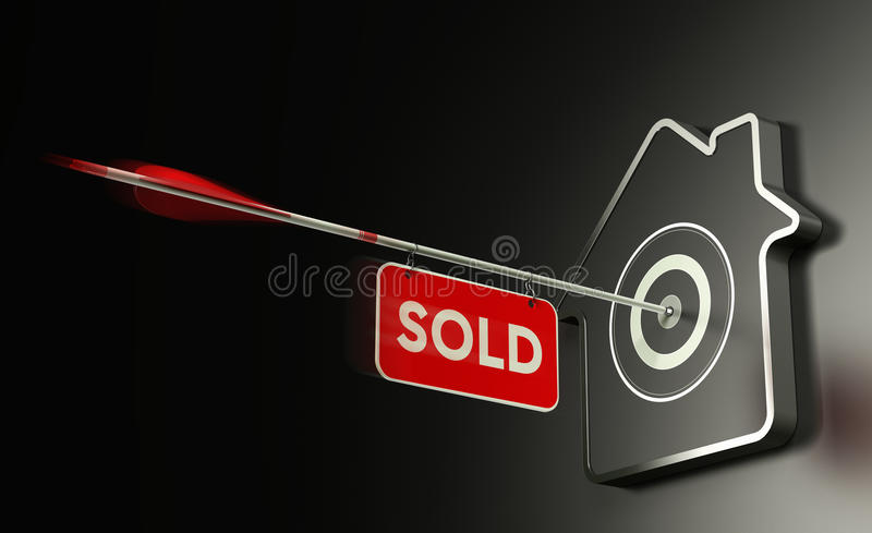 Real Estate vendió el concepto, estrategia eficiente de la venta ilustración del vector