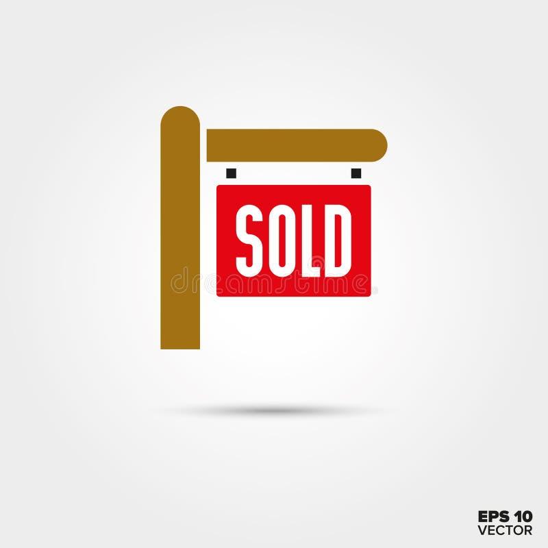 Real Estate a vendu l'icône de vecteur de signe illustration de vecteur