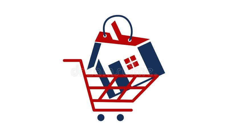 Real Estate wózek na zakupy ilustracji