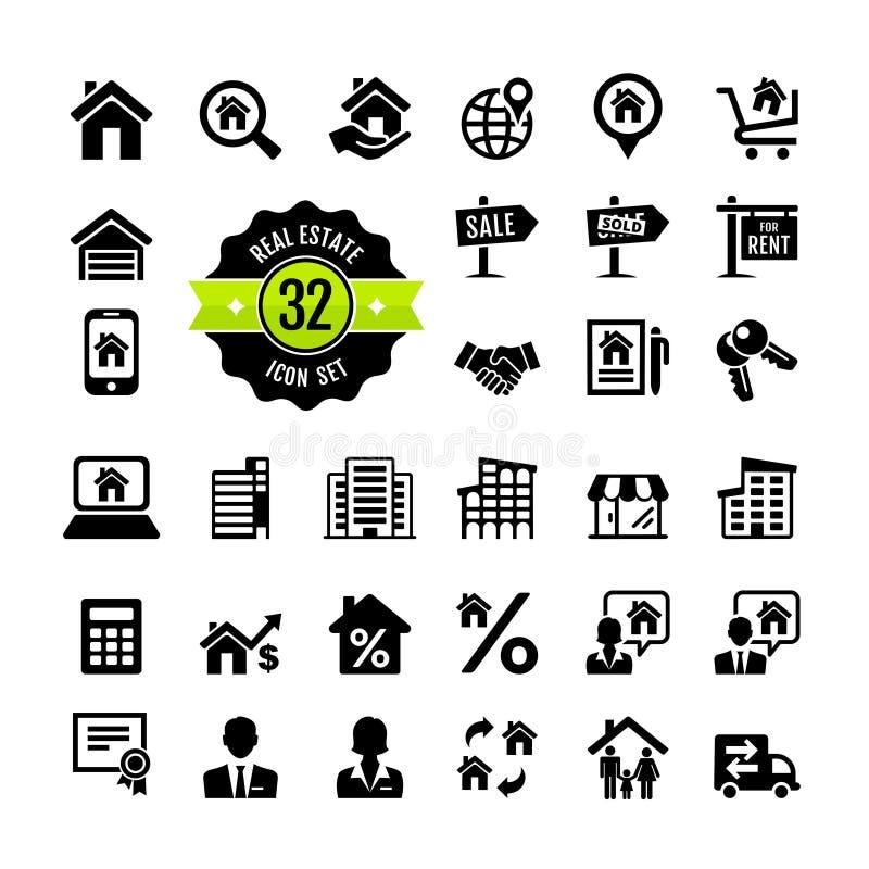 Real Estate, własność, pośrednik handlu nieruchomościami ikony set royalty ilustracja