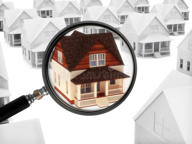 Real estate watch. House with a magnifying glass. Watching the market of real estate, finding a home, or security concept royalty free illustration