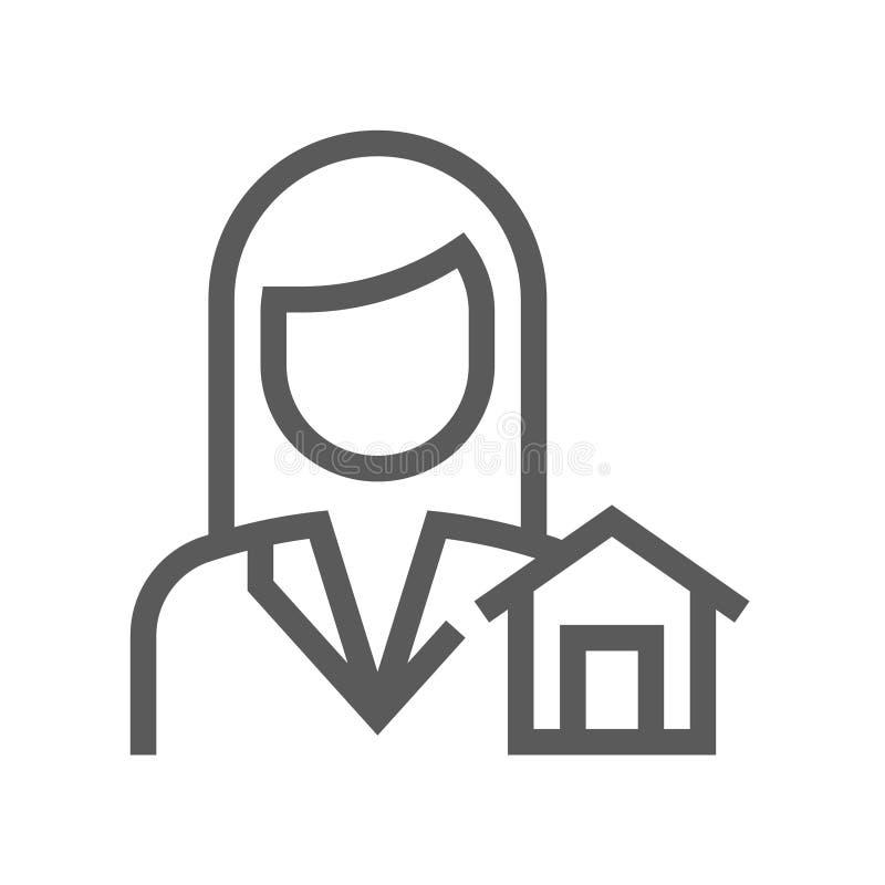 Real Estate wektoru linii ikona Editable uderzenie 48x48 piksel Perfect royalty ilustracja