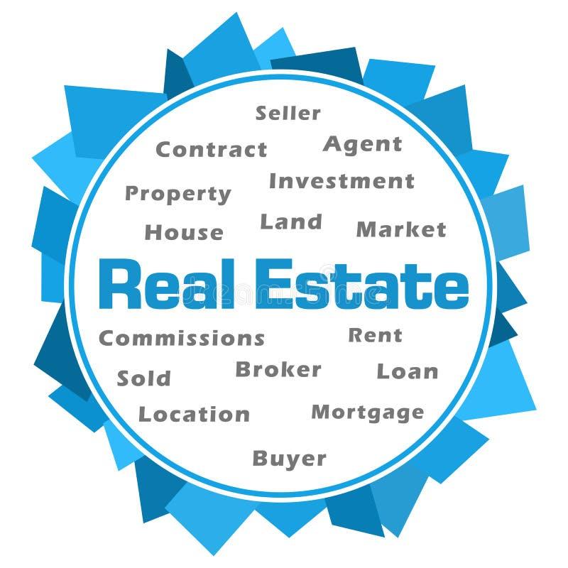 Real Estate Word Cloud Blue Abstract Circular vector illustration