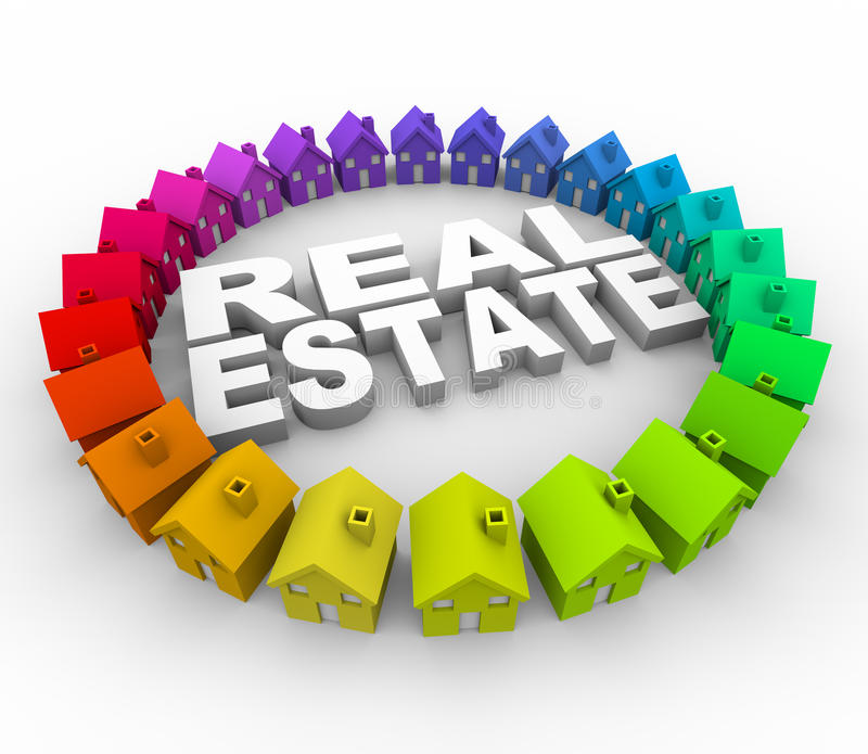 Real Estate - Words Surrounded by Houses royalty free illustration