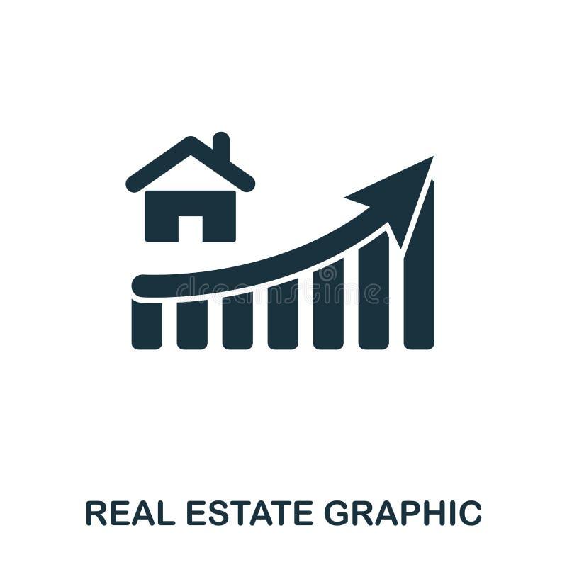 Real Estate wzrosta grafiki ikona Mobilni apps, druk i więcej użycie, Prosty element śpiewa Monochromatyczny Real Estate royalty ilustracja