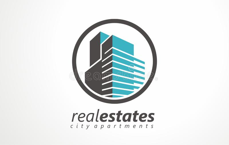 Real estates logo estates renting icon. Renting apartments house object shop. Sale buy rent agency agent. Illustration office service home symbol vector illustration