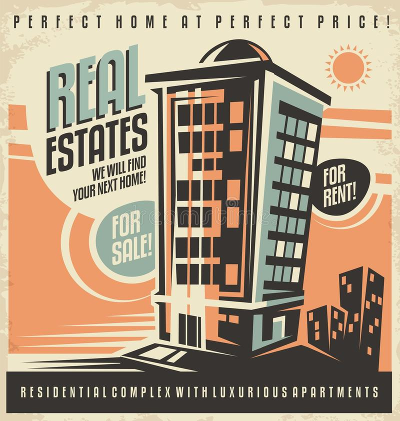 Apartment Buildings For Rent: Real Estates Vintage Ad Design Concept Stock Vector