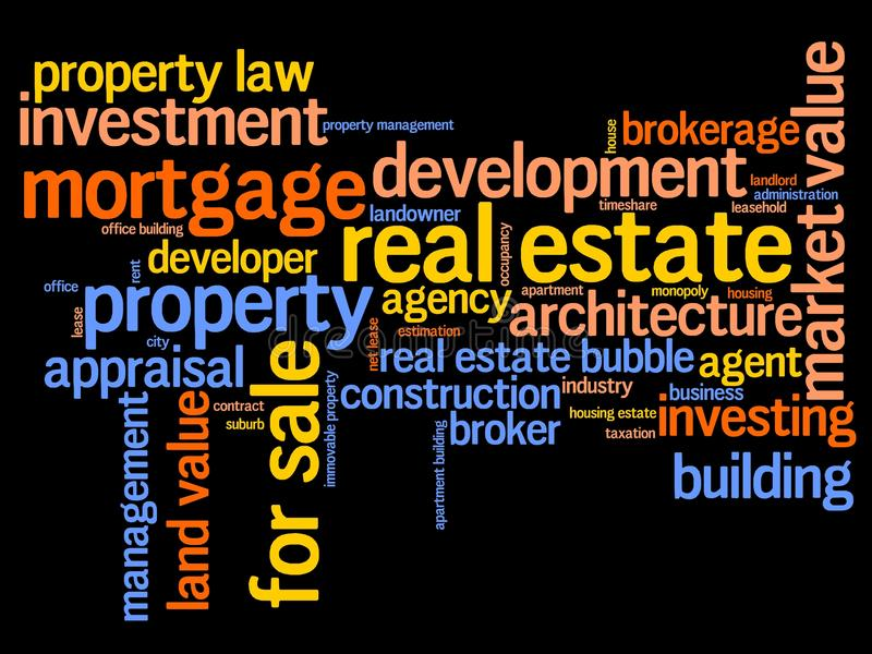 Real estete. Real estate investment and trading word cloud illustration. Word collage concept royalty free illustration
