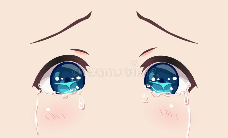 The real eyes of anime manga girls. In Japanese style. Cries in sorrow, greatly upset vector illustration