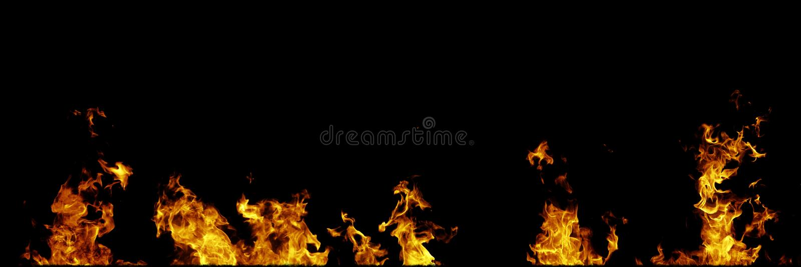 Real fire flames isolated on black background. Mockup on black of 5 flames. Real fire flames isolated on black background. Mockup of 5 flames royalty free illustration