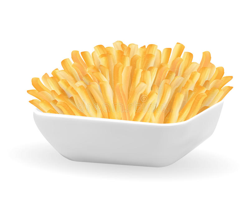 Real french fries in a white bowl stock illustration