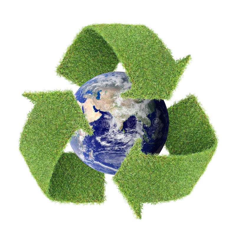 Free Real Grass Recycle Symbol With Globe Stock Photo - 12740780