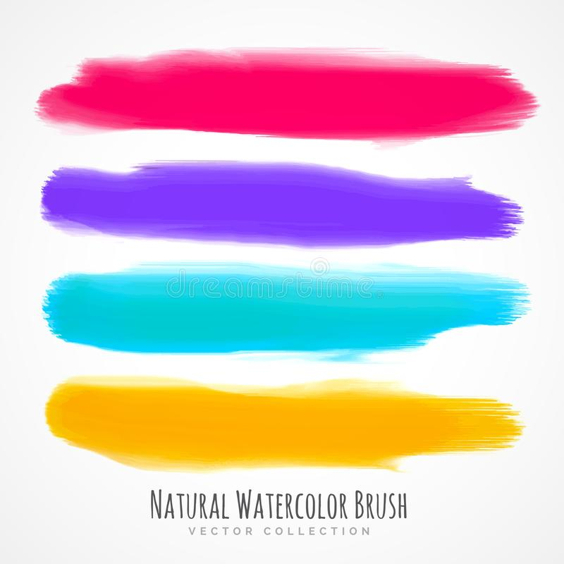 Real hand painted watercolor brush stroke set stock illustration