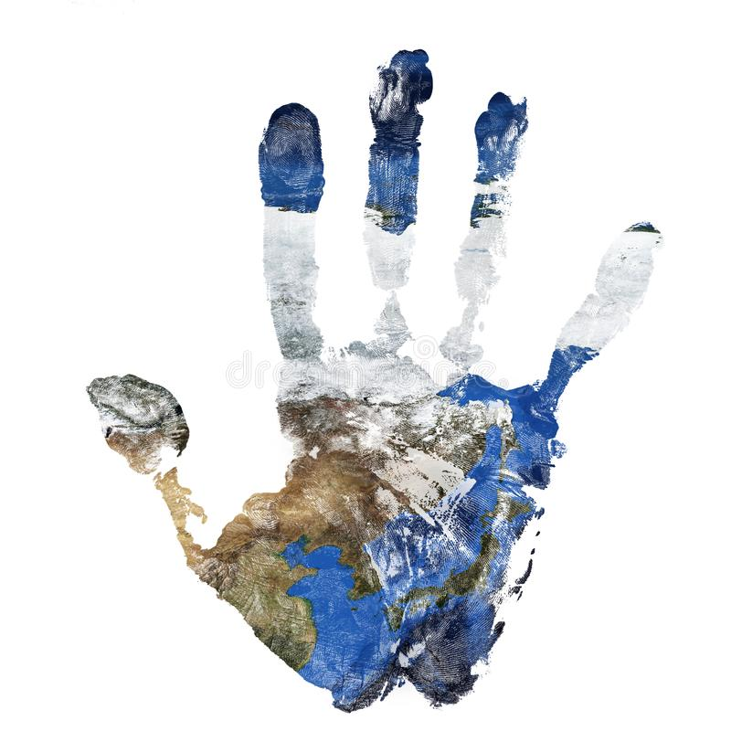 Real hand print combined with a map of China Korea and Japan. Elements of this image furnished by NASA stock images