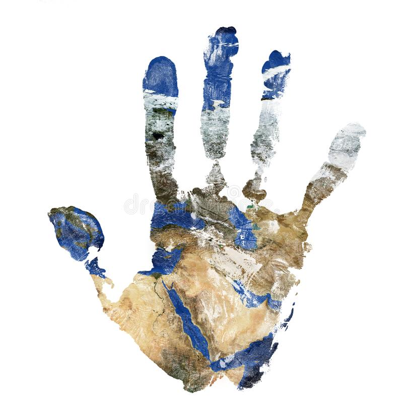 Real hand print combined with a map of The Middle East - of our blue planet Earth. Elements of this image furnished by NASA royalty free stock images