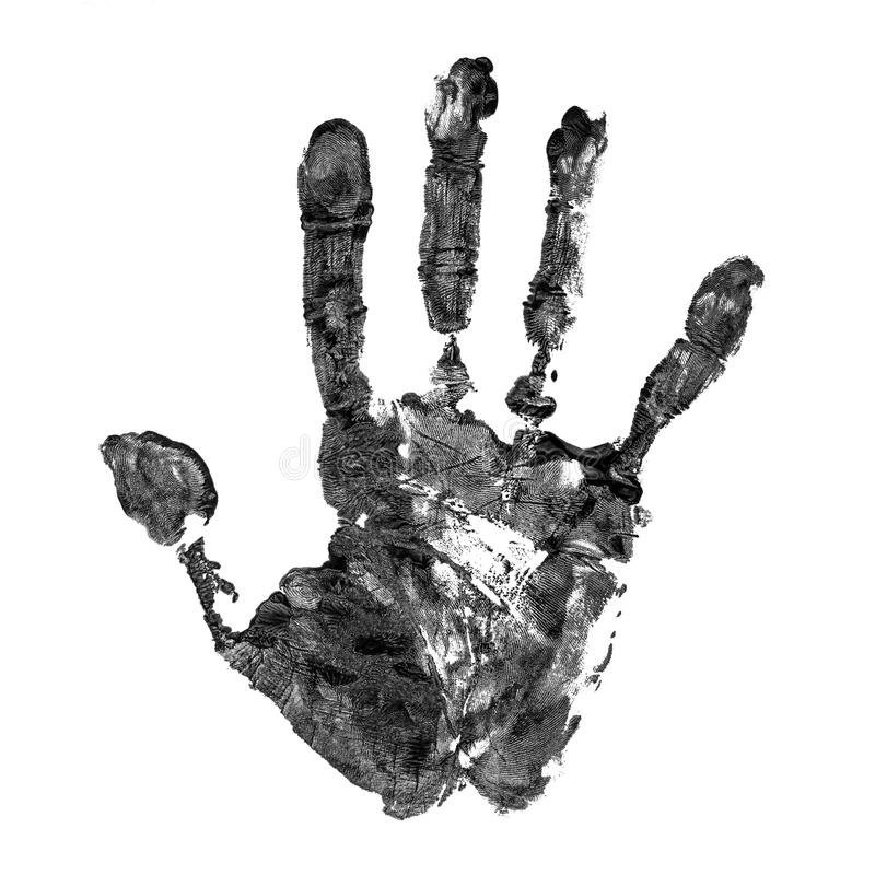 Real handprint on white background royalty free stock photography