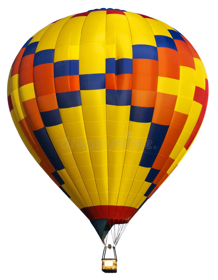 Download REAL Hot Air Balloon Isolated, Bright Colors Stock Image - Image of gondola, lighter: 32428673