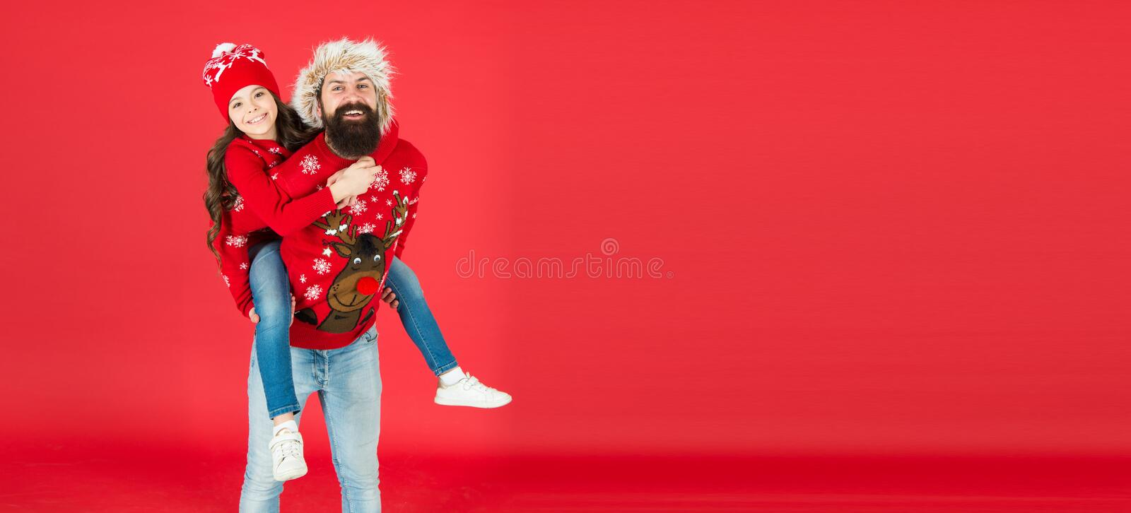 Real joy. father and daughter celebrate xmas. small girl have fun with dad. happy new year. family holiday. stay warm in royalty free stock photo