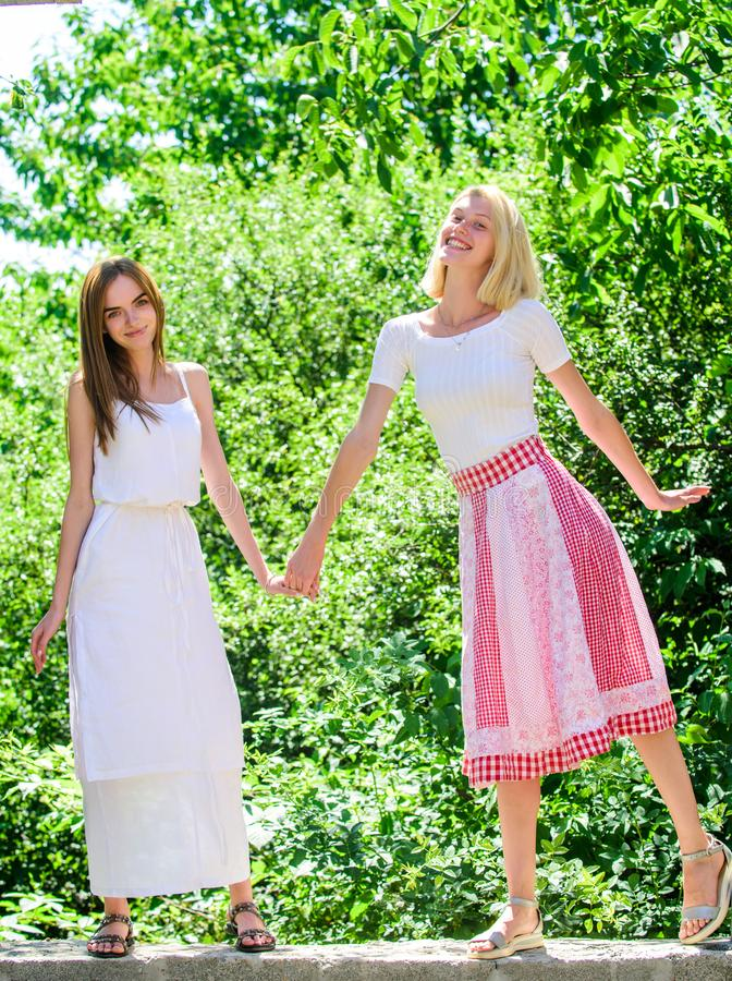 Real joy. natural beauty. sexy girls relax outdoor. Sisterhood vacation. spring nature lovers. summer fashion. beautiful. Women in green park. freshness of stock images