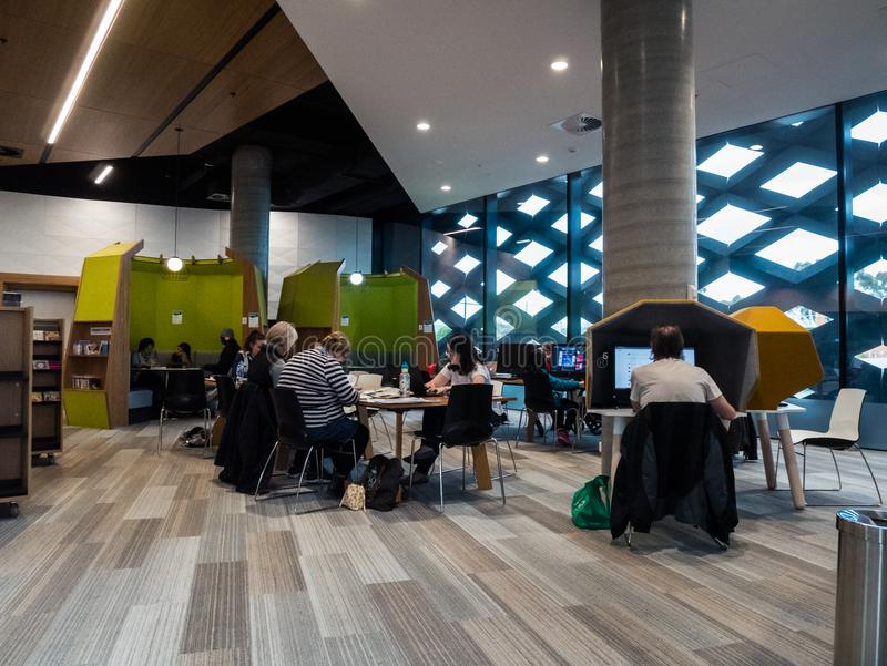 Real Library, Learning and Cultural Centre in Ringwood in the eastern suburbs of Melbourne. Melbourne, Australia - July 21, 2018: Realm Library, Learning and royalty free stock photo