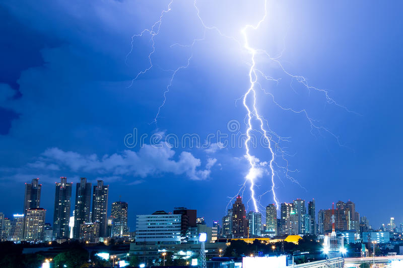Download Real Lightning Bolt Strike In A City Stock Photo