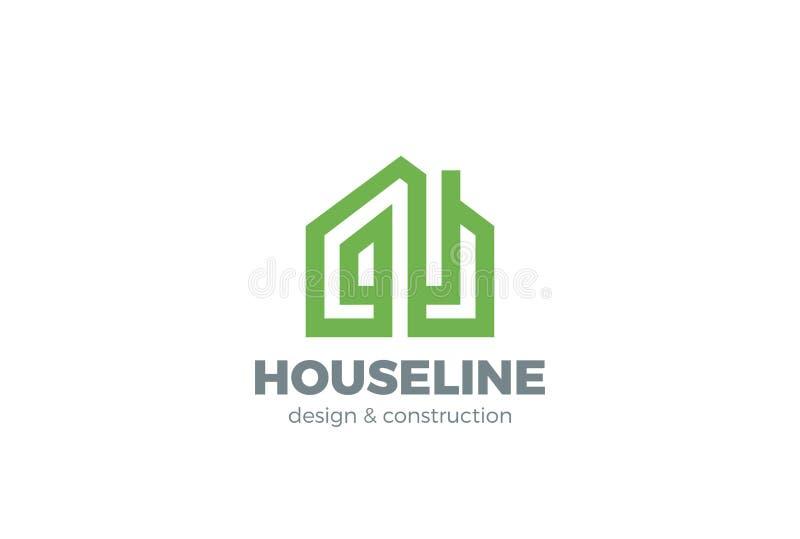Real linear del vector del diseño del logotipo de la casa verde de Eco stock de ilustración
