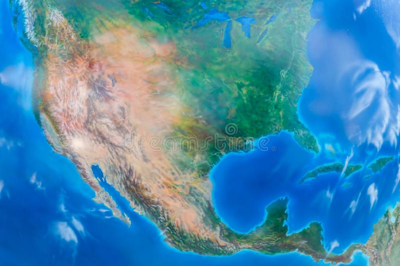 Real looking Earth map. North America in the center. Globe is accurate and right royalty free stock photos