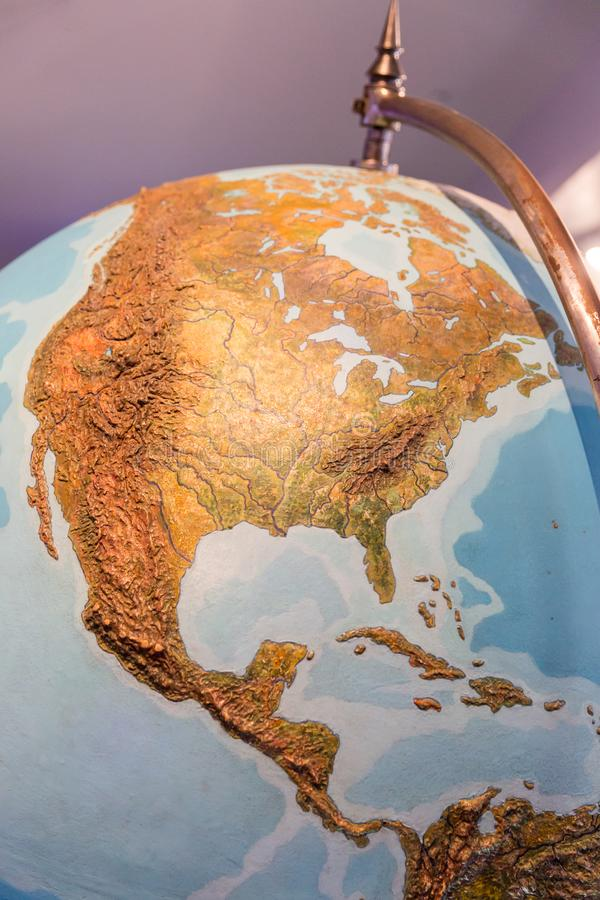 Real looking Earth map. North America in the center. Globe is accurate and right stock photography