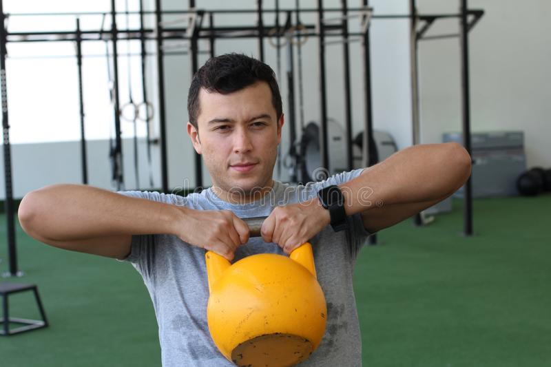 Real looking man during work out stock photo