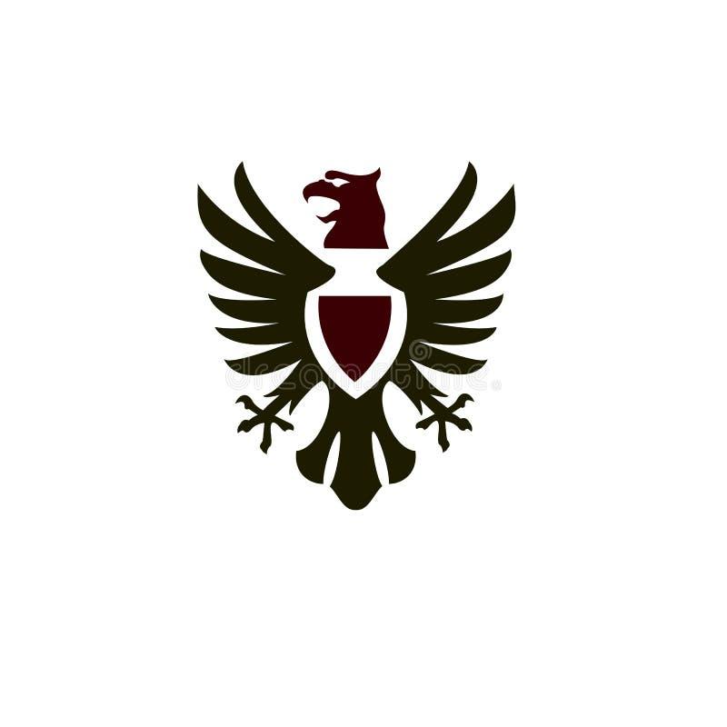 Real luxuoso do logotipo heráldico de Phoenix ilustração royalty free