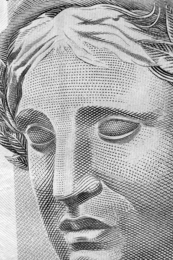 Real macro. Republic's Effigy portrayed as a bust on Brazilian Real stock photo