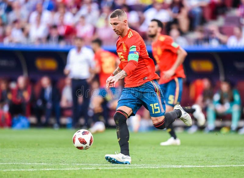 Real Madrid i Hiszpania krajowa drużyna futbolowa jesteśmy kapitanem Sergio Ramos fotografia royalty free