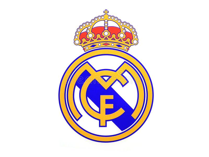 Real Madrid Logo. MADRID, SPAIN - MAY 17, 2018: Real Madrid Logo over a white background