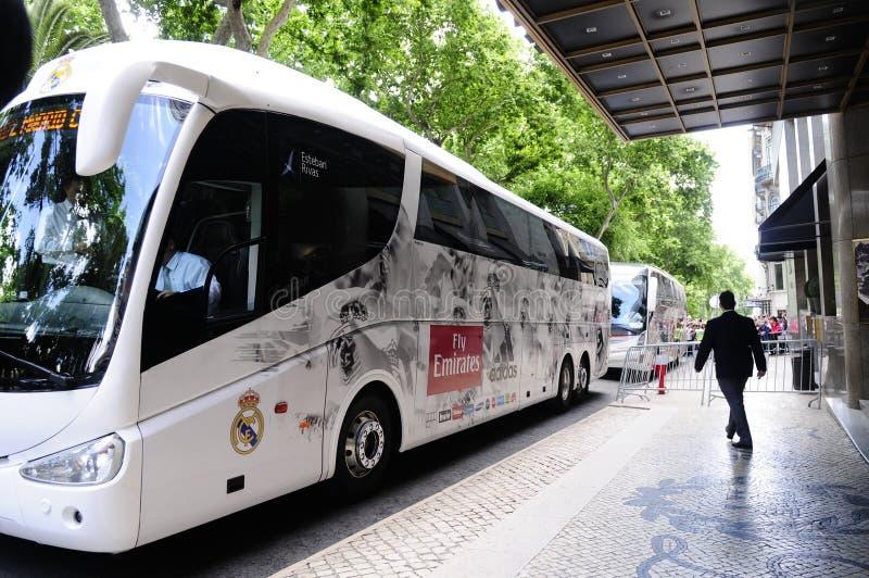 Real Madrid zawodowej piłki nożnej drużyny autobus obrazy stock