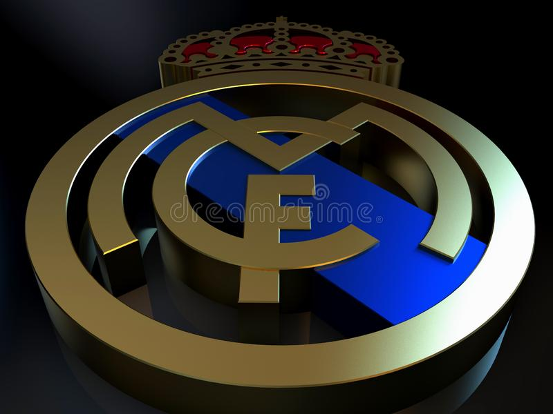 Real Madridfotbollslaglogoen gjorde av guld royaltyfri illustrationer