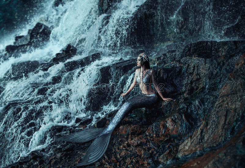 The real mermaid. Is resting on the ocean shore. Silver tail, the body is covered with scales. Creative colors stock image