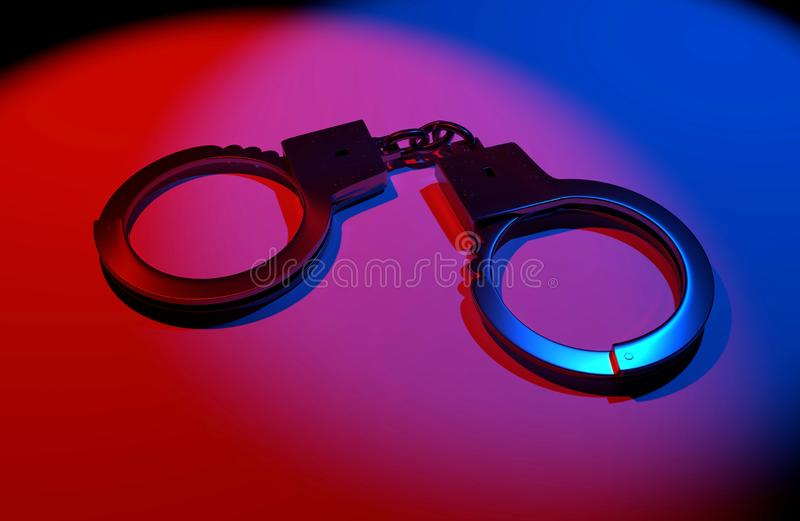 Real metal handcuffs. Closed police handcuffs close-up on a colored background. 3d illustartion vector illustration