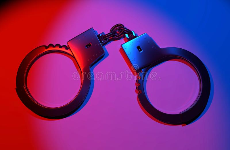 Real metal handcuffs. Closed police handcuffs close-up on a colored background. 3d illustartion royalty free illustration