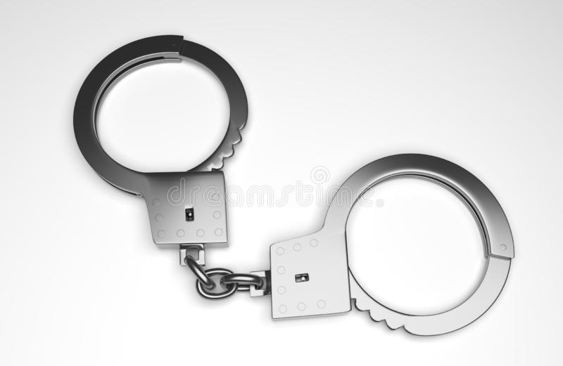 Real metal handcuffs. Closed police handcuffs close-up on a white background. 3d illustartion royalty free illustration