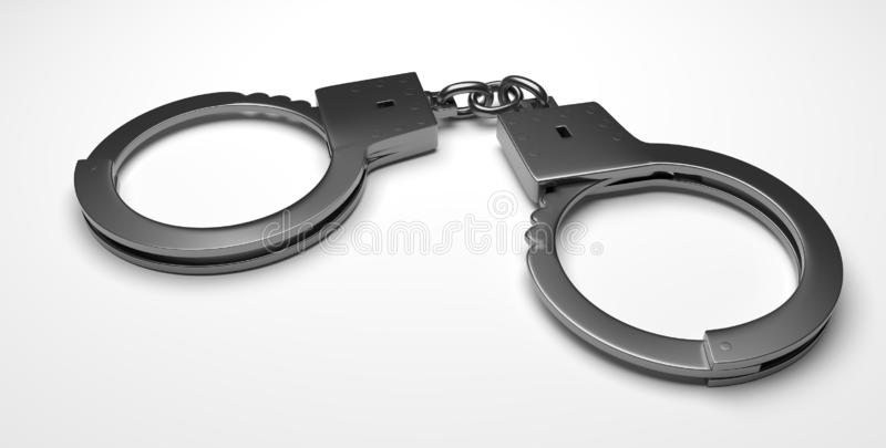 Real metal handcuffs. Closed police handcuffs close-up on a white background. 3d illustartion stock illustration