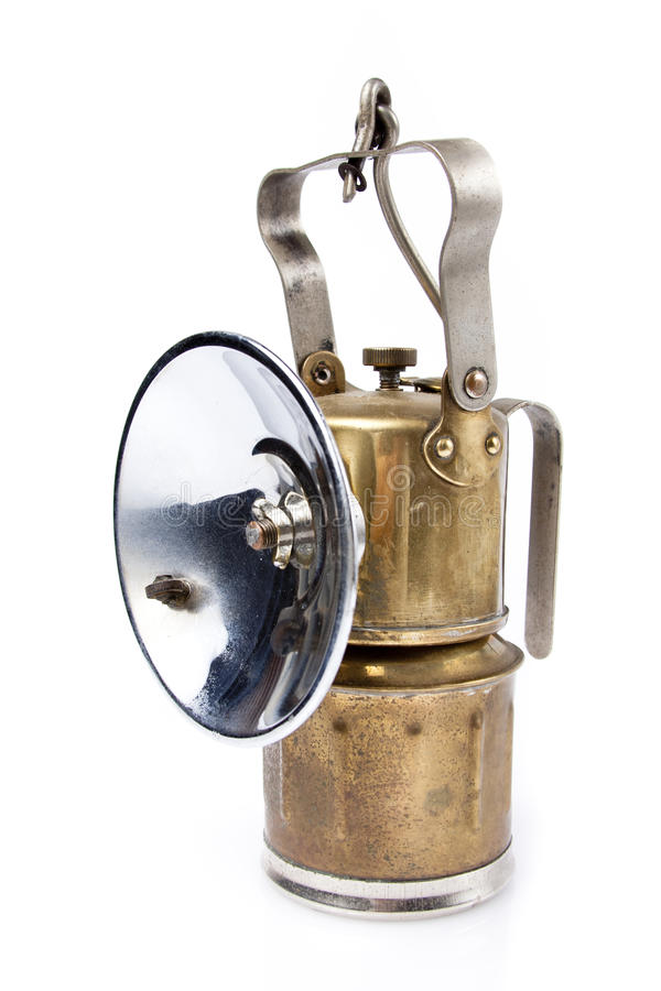 Real miners lamp isolated on white stock photos