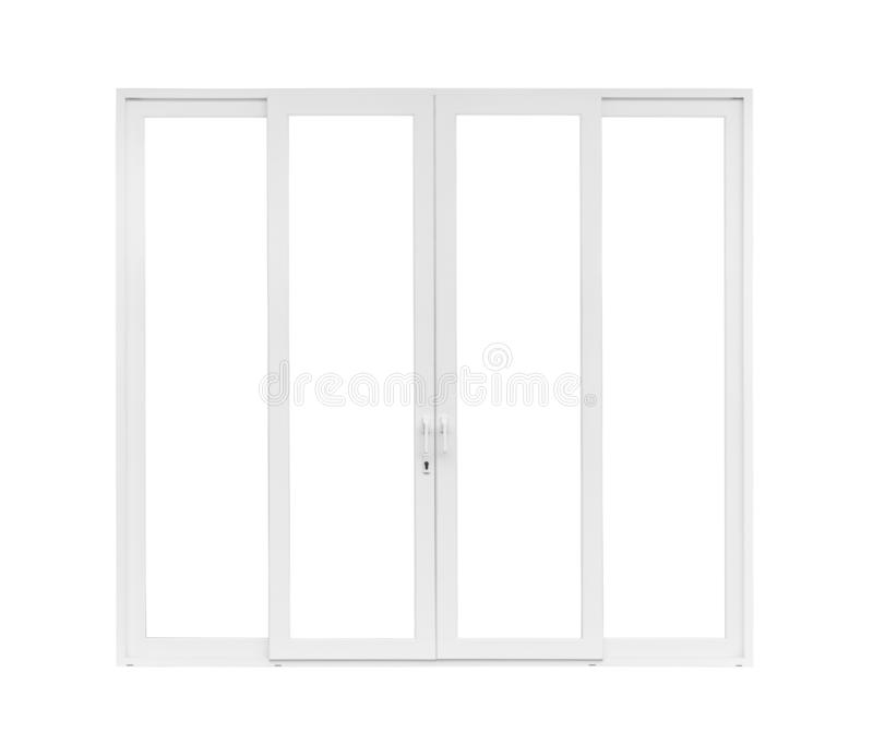 Real modern house door window frame  on white. Background royalty free stock image