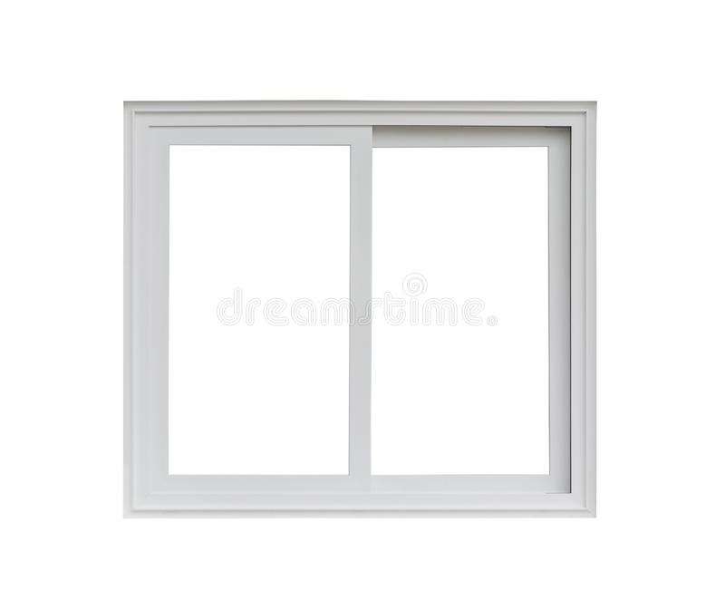 Real modern house window frame isolated on white. Background royalty free stock image