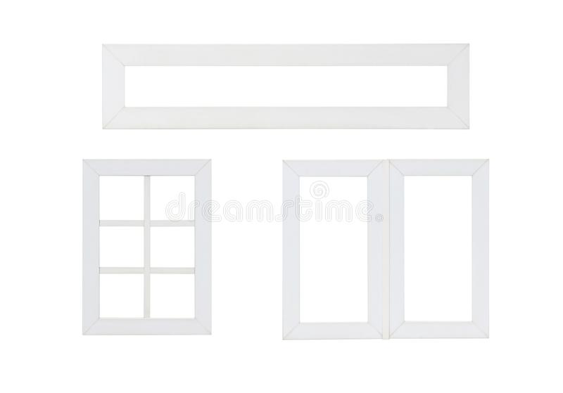 Real modern house window frame set collection isolated on white. Background royalty free stock photography