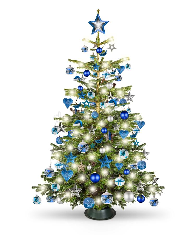 Real natural nordmann xmas christmas tree with petrol blue turquoise silver and wooden decoration. bauble star heart and bright stock photo