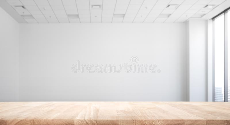 Real nature wood table top on white room office background royalty free stock photography